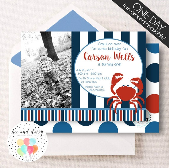 Crab Birthday Invitation, Crab Invitation, Crab Party, Boy First Birthday, Boy Birthday, Crab Invite, Crab Photo Invitation, BeeAndDaisy
