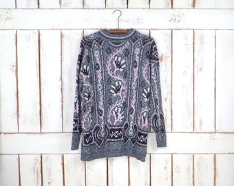 80s vintage black/pink/grey striped floral slouchy pullover knit sweater/woven tunic sweater