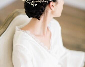 Wedding Hair Vine, Ivory Flora Hair Piece, Crystal Bridal Headpiece, Ivory Bridal Headpiece - FORESTER