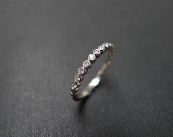 Classic Wedding Diamond Ring 18K White Gold, Bezel Engagement Ring, Bezel Ring, Diamond Band, Diamond Engagement Ring, Diamond Wedding band