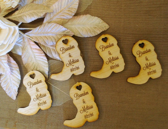 Cowboy Wedding Gifts: 130 Wood Cowboy Boots Wedding Favors Personalized