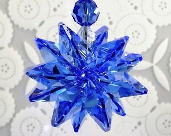 HUGE 20mm RARE VINTAGE Sapphire Crystal Octagons StarBurst Star, Car Charm, SunCatcher, Ornament, m/w Swarovski® crystal, Pearl Place N More
