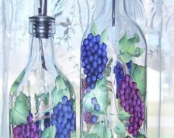 Oil Vinegar Bottle Dispenser with Hand Painted Grapes SMALL