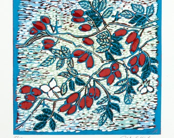 linocut, rose hip, printmaking, red, blue, green, nature, country cottage, modern interior, home decor, flowers
