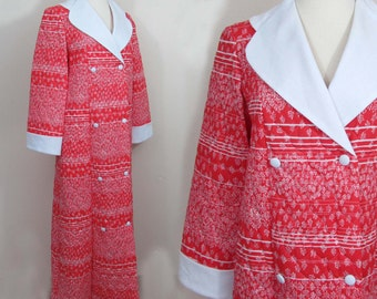 Cotton Quilted Robe - Red & White - Tag size Womens Small - Sears NWT