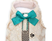 Harness lace fabric and champagne sequins. Emerald bow. Only size S! Dog accessories
