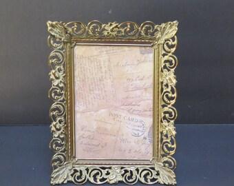 Vintage 5 x 7 Ornate Floral  Filigree Picture Frame white washed Gold/ Brass / Easel Back