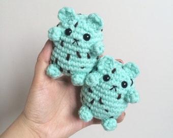 Mini Mint Chocolate Chip Bear Plushie - Little Crochet Ice Cream Teddy Bear - Amigurumi Bear - Stuffed Animal
