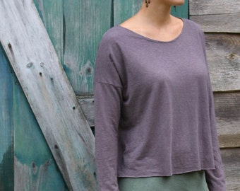 Cropped Boxy Top-Organic Cotton and Hemp