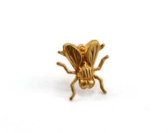 Fly Pin, Tie Pin, Lapel Pin, Tie Tack, Tiny Fly, Gold Fly Pin, Insect Pin, Fly Brooch