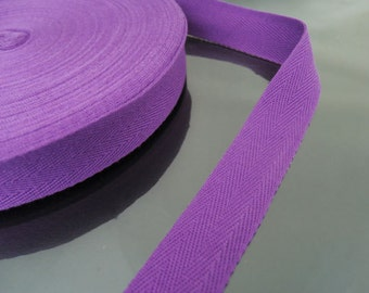 "Purple Cotton Twill Tape 1"" or 1/2""- Purple Amethyst Herringbone Cotton Twill Tape CT77 ( 25mm 1 inch ) or ( 13mm 1/2 inch )"
