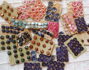 275 Vintage Miniature Colored Mother of Pearl Buttons