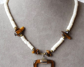 Tigereye & Shell Bead Choker Necklace    NM19