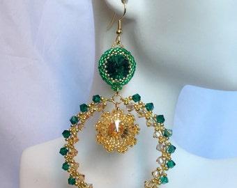 Green and Gold Crystal Hoop Earrings