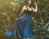 Blue and black romantic long dress