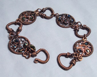 antique copper wire wrapped bracelet - copper and glass wire links bracelet
