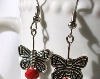 Red and silver butterfly dangle earrings