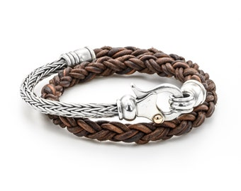 BRAIDED LEATHER  BRACELET/ leather Men's Bracelet/ brown /leather Sterling Silver Bracelet/  Double wrapping on hand/ 9k Gold on the Claps
