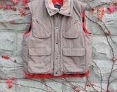 Tan Cargo Vest, Red Plaid Flannel, Pocket Vest, Men's Large, Vintage Vest, Vintage Flannel, Mens Vintage, Gifts for Him, Winter Coat, Jacket