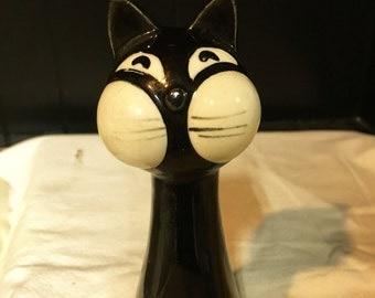 Funky Cat Shaker Vintage Folk Art Pottery