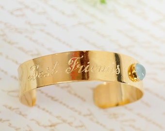 Birthstone Bangle Bracelet, Best Friend Gift, Personalized Hand Engraved Bracelet, Gold Personalized Cuff, Custom Bracelet, Unique Gifts