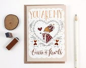 Valentine's Day Card - You Are My Queen of Hearts - Copper Foil Greeting Card