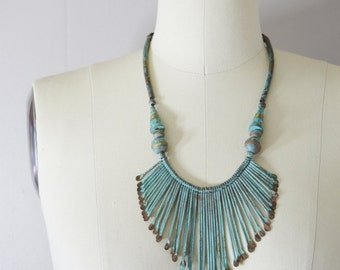 Vintage Leather and Patinated Brass Bib Necklace | Tribal Necklace | Statement Necklace