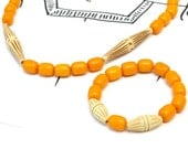 French Vintage Beaded Necklace and Bracelet Set - Egg Yolk Yellow Early Plastic Beads