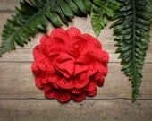 Red Chiffon Eyelet Lace Pinup Hair Flower Clip