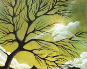 """Here Comes the Sun  8"""" x 10"""" print of an original acrylic painting by Owen Klaas green tree sunshine"""
