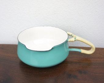 Vintage Dansk Kobenstyle Turquoise Butter Warmer Wrapped Handle, Enameled Steel, Tiny Sauce Pan, Gravy Boat, Denmark, Jens Quistgaard 170070