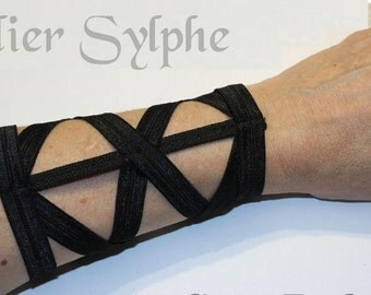 Armlet in black color X style wristband fantasy boned and elastic strap