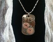 Steampunk Dog tag Pendant, Dog tag jewelry, Gear,  Resin pendant, pendant,  Resin Jewelry, Steampunk Necklace