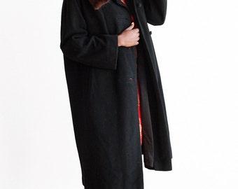 Vintage Black Cashmere And Mink Collar Coat