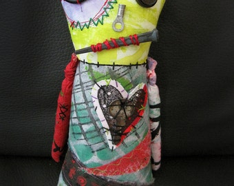 SALE Zombie Monster Art Doll, OOAK Original Design, Textile Mixed Media Art Doll, Hand Printed Fabric, Creepy Cute Decor Collectible, undead