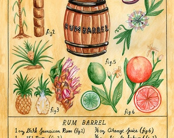 Botanical Rum Barrel print (classic tiki cocktail)