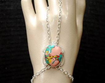 Slave Bracelet, Silver Ring with Bracelet, Gemstone Bracelet,  Bohemian Jewelry, Gypsy Bracelet