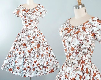 Vintage 50s DRESS / 1950s Belted SUNDRESS White Cotton Cappuccino BROWN Floral Flocked Print Full Swing Skirt Pinup Garden Party Xs S Small