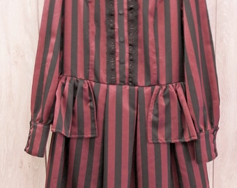 Steampunk Lolita Dress , Gothic Black and Red Strippes Dress, dieselpunk, ready to ship