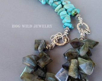 Handcrafted Artisan Campo Frio Turquoise Labradorite Gemstone Women's Necklace