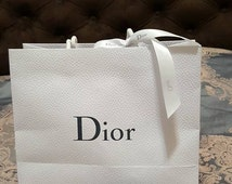 New Authentic CHRISTIAN DIOR White Gift Bag - Shopping Bag - comes with signed white ribbon - re-gifting, for her, bridal - 2016 stock