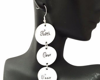 Faith Over Fear dangle earrings
