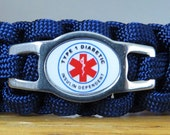 Diabetes Type 1 Bracelet, Medical Alert Bracelet, Survival Bracelet