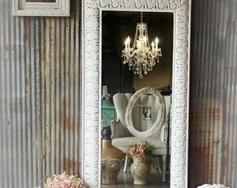 Huge Leaning Mirror , Ornate White Mirror Tin Shabby Chic