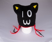 Custom Kitty Cat Ears Beanie Hat with Ear Flaps - RESERVED FOR CREEPYCATDREAMS