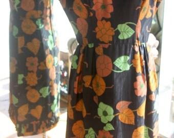 Vintage 1960s Flowered Silk Dress