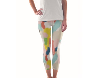 Rolladay Artist Leggings // ethical bold stylish yoga pants designer leggings and capris in abstract painted patterns by lisa barbero