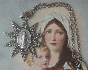 Sterling Silver Star and Marcasite Art Deco Miraculous Medal of The Immaculate Conception Medallion Necklace Blessed Virgin Mary Medallion