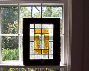 Vintage Stain Glass Window  / Arts and Craft Style