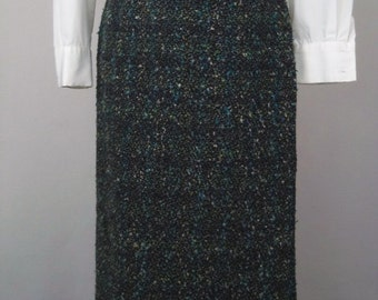 Vintage 50's 60's Pencil Skirt Straight Turquoise Gray Green Boucle Size XS